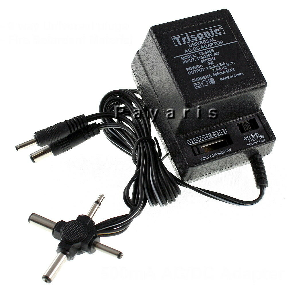 ac dc universal power adapter output 1 5v to 12v 6 plugs selection 110 220v volt ebay. Black Bedroom Furniture Sets. Home Design Ideas