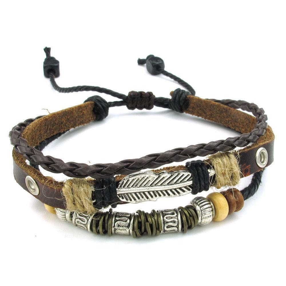 Leather Wrap Bracelet With Charms: Mens Womens Brown Leather Bracelet Feather Charm 7-9 Inch