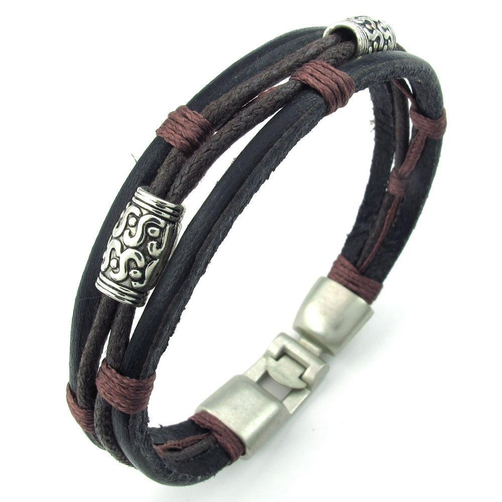 mens womens brown black silver leather rope bracelet tribal braided cuff bangle ebay. Black Bedroom Furniture Sets. Home Design Ideas