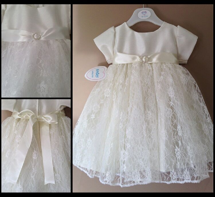 Baby girls christening dress white or ivory diamante for 12 month dresses for wedding