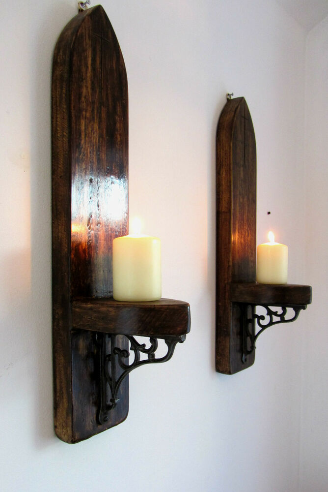 2x Large Gothic Arch Rustic Wood Wall Sconce Candle Holder
