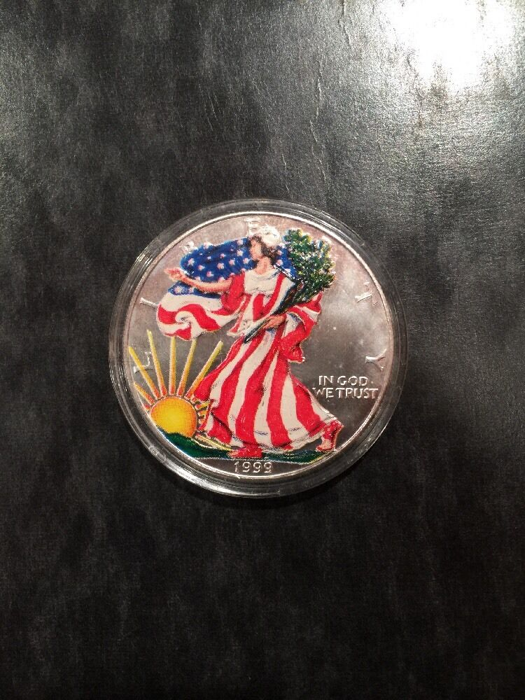 1999 Painted Walking Liberty 1 Oz Silver Dollar Ebay
