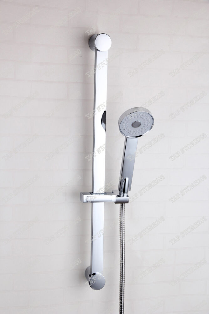 Shower Riser Slide Rail Bar Kit Hose And Square Shower