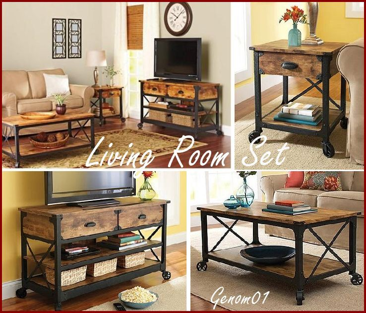 Rustic Living Room Set Coffee Table Tv Stand Nightstand Wood Country Furniture Ebay