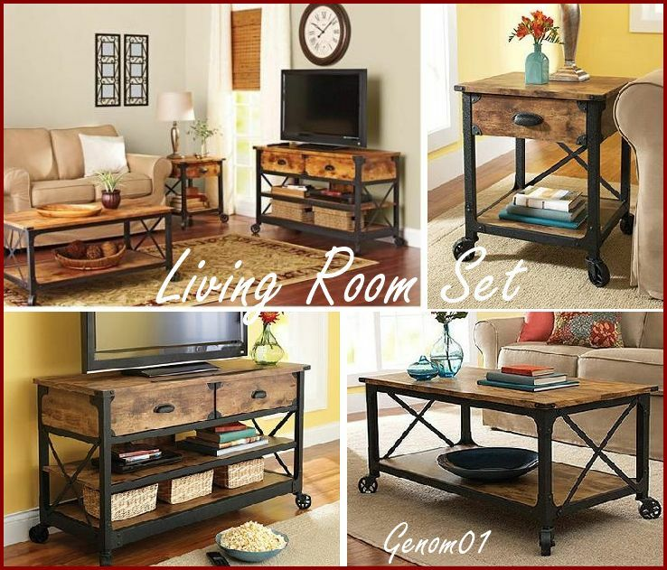 Rustic Living Room Set Coffee Table Tv Stand Nightstand Wood