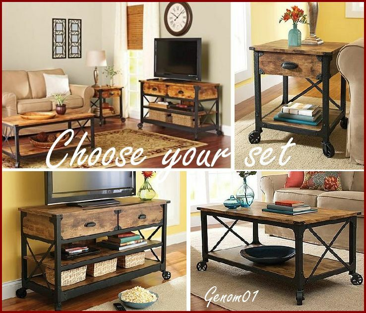 rustic living room set coffee table end accent tv stand wood country furniture ebay. Black Bedroom Furniture Sets. Home Design Ideas