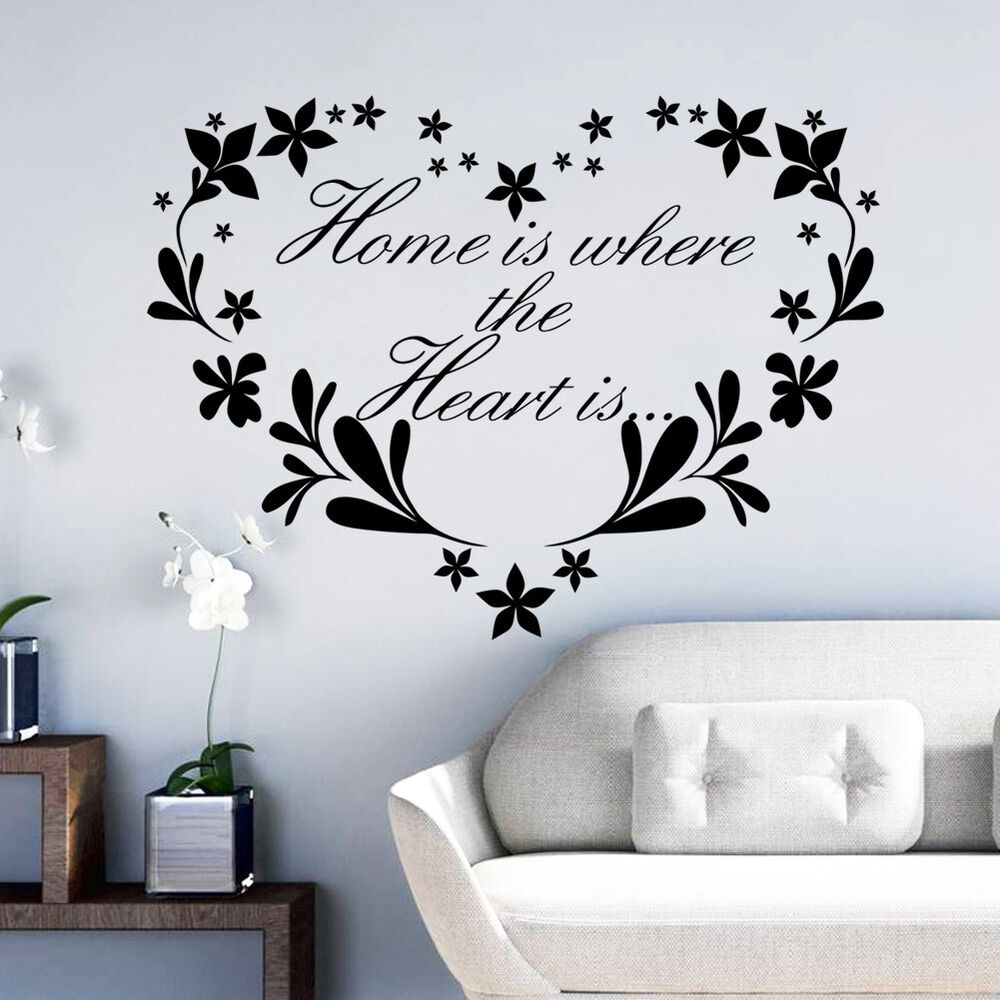 Flower home removable quote wall sticker mural decor art for Adhesive wall decoration