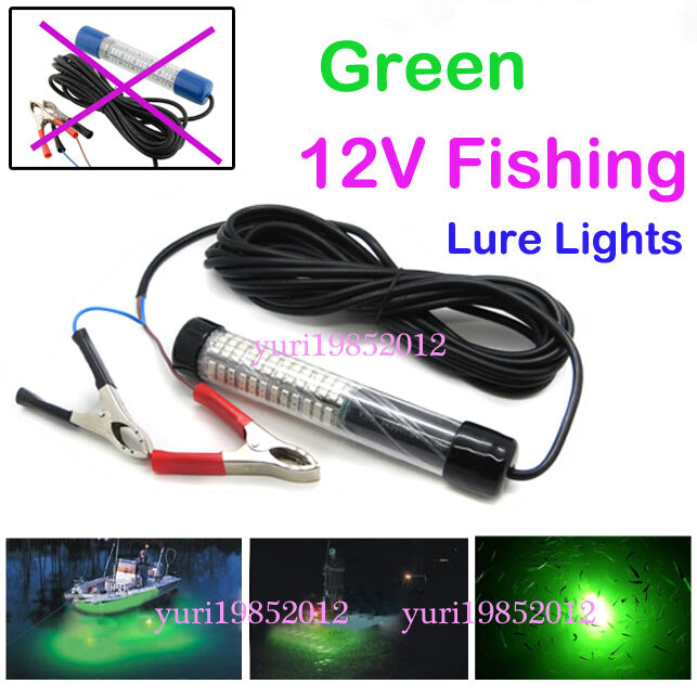 12v green led night squid fishing bait lure light for Submersible fishing light