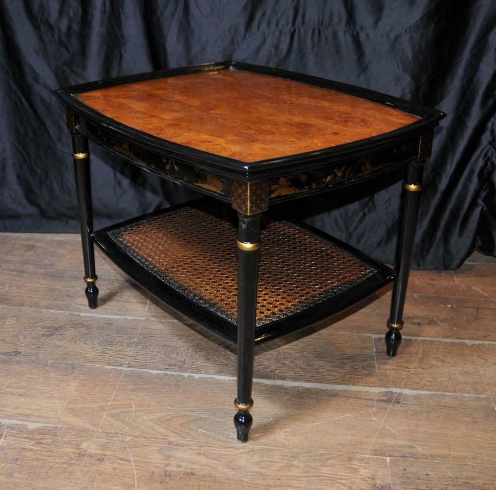 French Black Lacquer Side Coffee Tables Chinoiserie Ebay