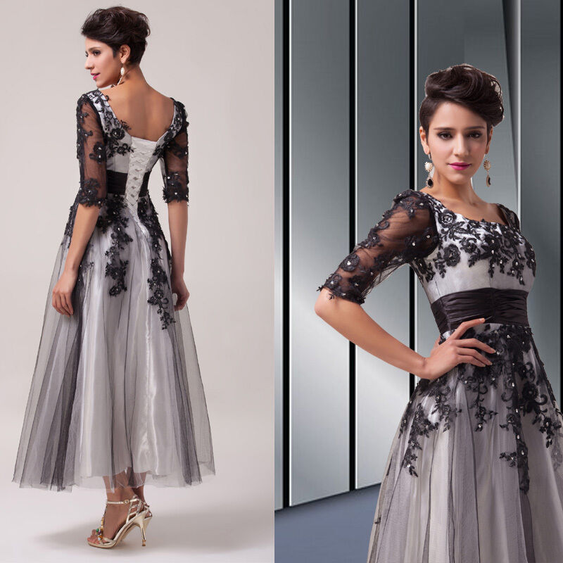 Gothic Vintage Lace Mother Of Bride Evening Gown Long Prom