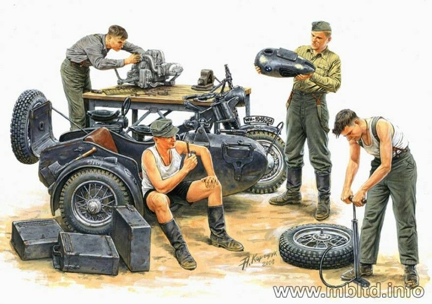 german motorcycle repair crew 4 figures with bmw r75 1 35 master box 3560 ebay. Black Bedroom Furniture Sets. Home Design Ideas