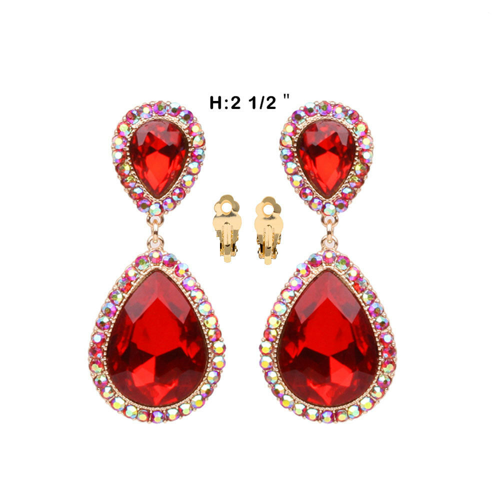 Red Givenchy Chandelier Earrings: Bridal Wedding Prom Party Elegant Crystal Rhinestone Red