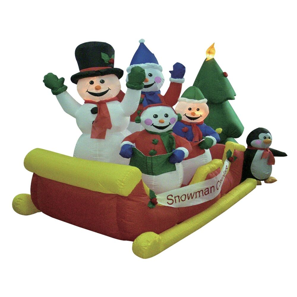Christmas inflatable snowman snowmen sleigh tree outdoor for Inflatable christmas decorations