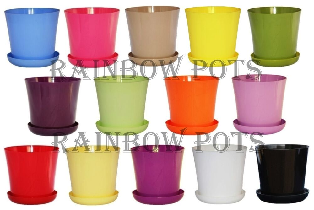Decor Wedding Flower Pots 14 Colours Gloss Plastic Plant