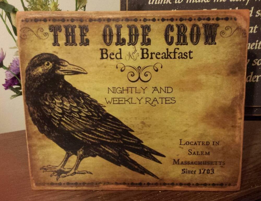 Primitive Sign The Olde Crow Bed Amp Breakfast Distressed