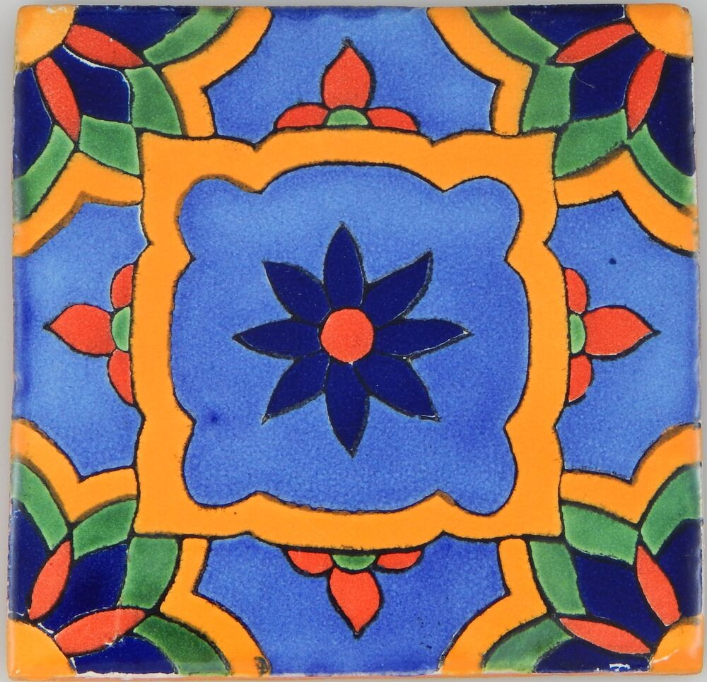 Mexican Tile Folk Art Handmade Talavera Backsplash