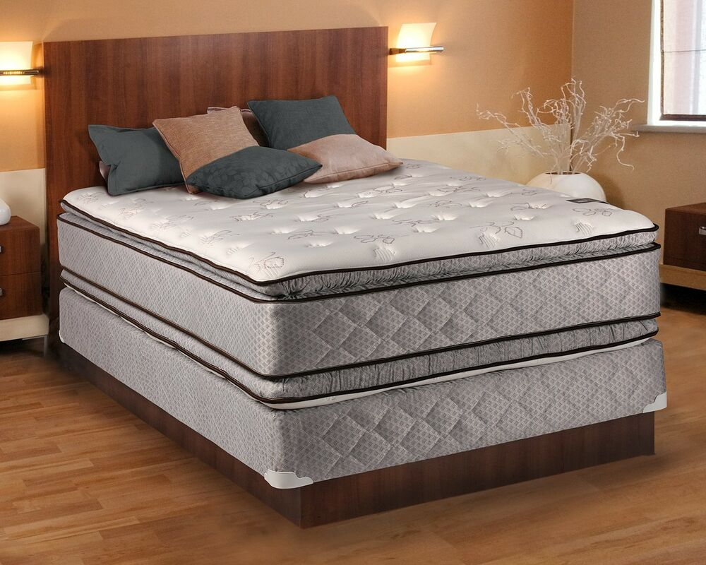 Hollywood plush queen size pillowtop mattress and box spring set ebay Mattress queen size