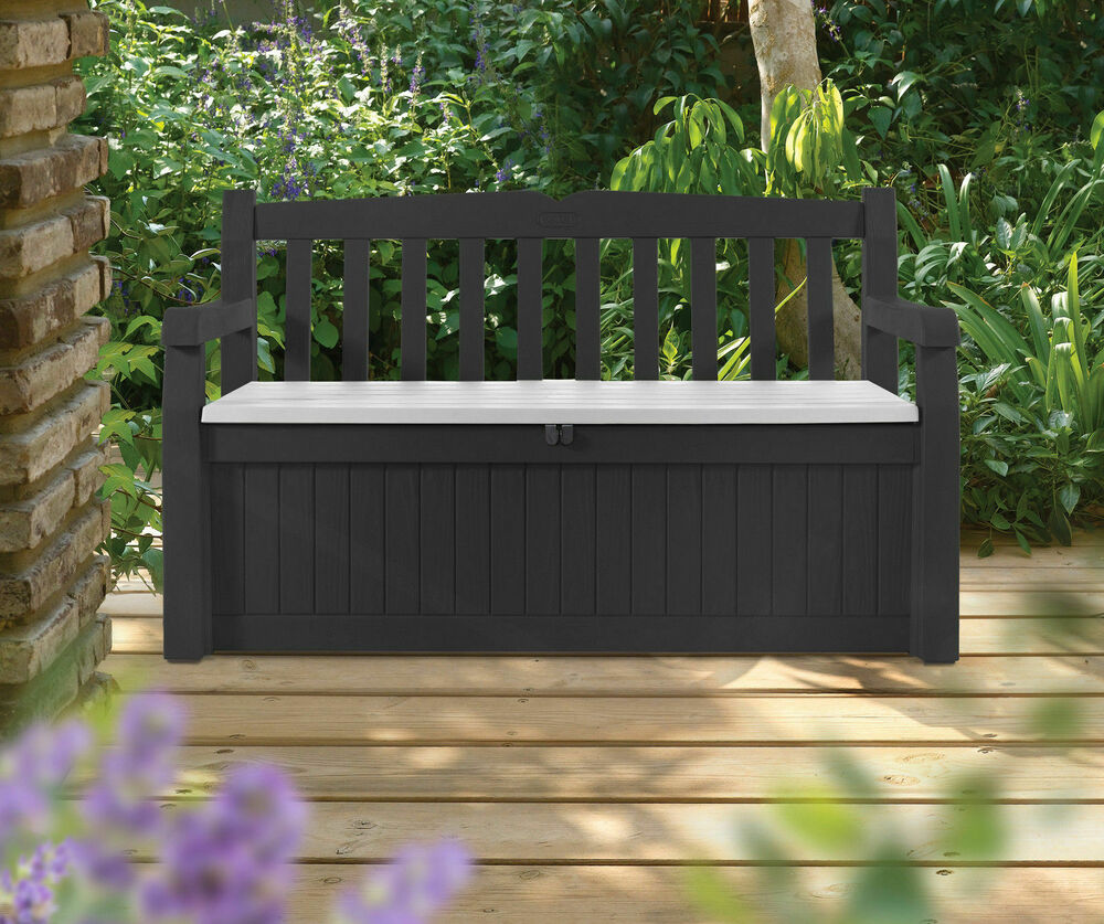 gartenbank eden gartentruhe kissentruhe kissenbox truhenbank box keter anthrazit ebay. Black Bedroom Furniture Sets. Home Design Ideas