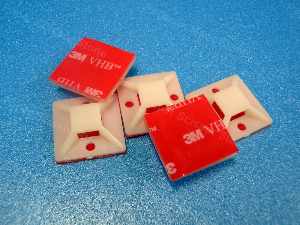 3m Cable Ties : Pcs mm cable wire tie square mount pad with m vhb red