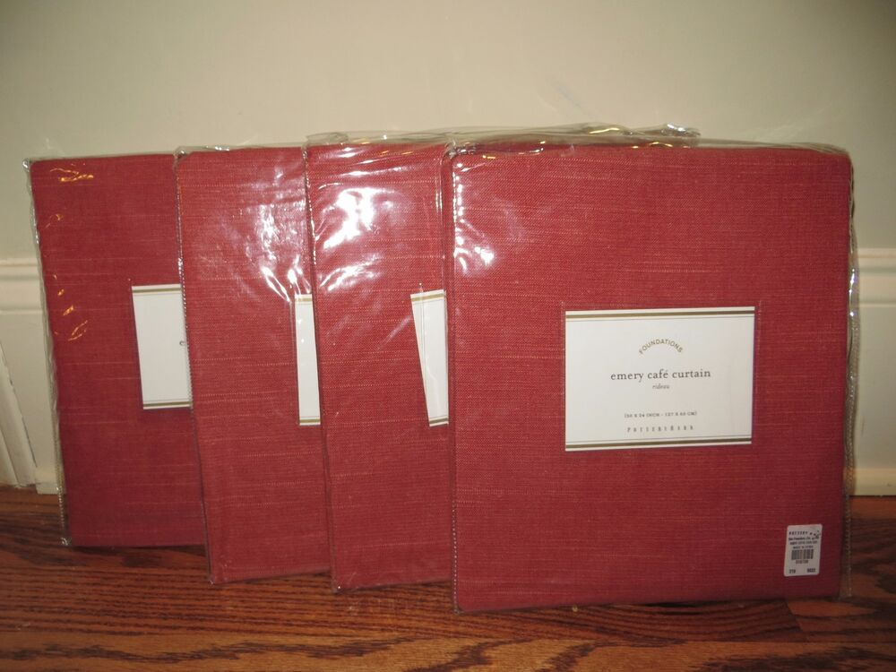 4 Nip Pottery Barn Emery Cafe Curtains 50x24 Red Linen Cotton Qty Available Ebay
