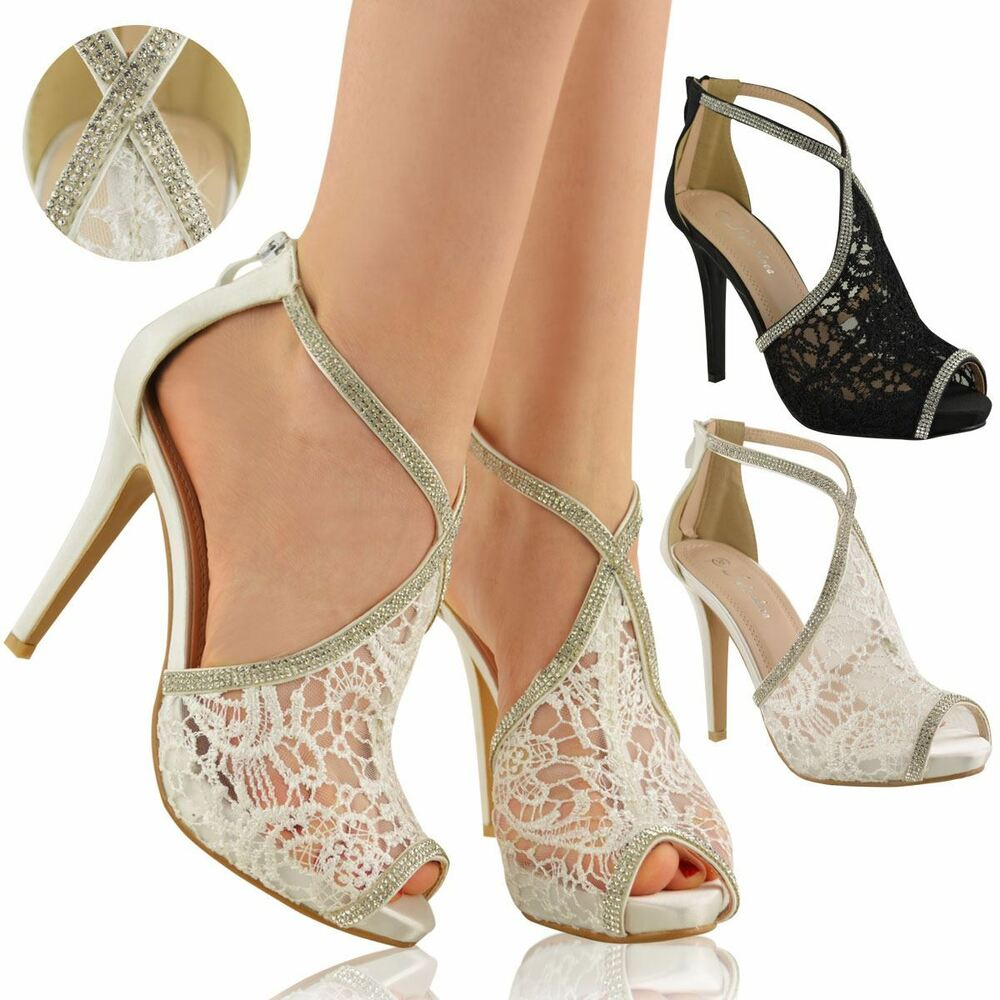 LADIES WOMENS WEDDING SHOES HIGH HEELS LACE DIAMANTE