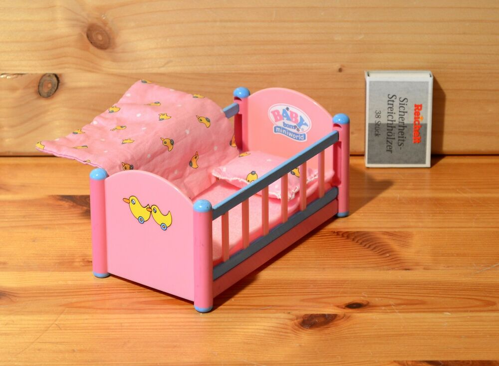 mini baby born bett mit bettw sche top rar ebay. Black Bedroom Furniture Sets. Home Design Ideas