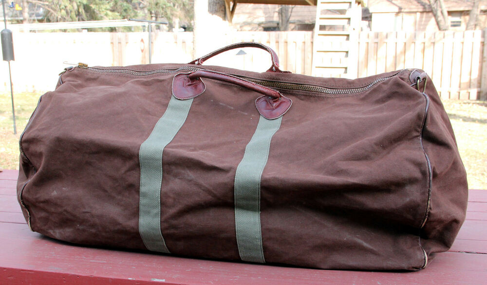 Vintage Ll Bean Brown Canvas Duffle Overnight Bag Made In
