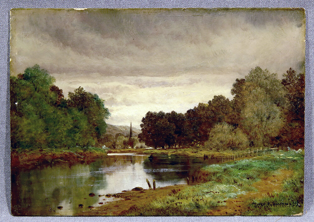 Landscape oil painting river lee near cork ireland signed for Lee s painting