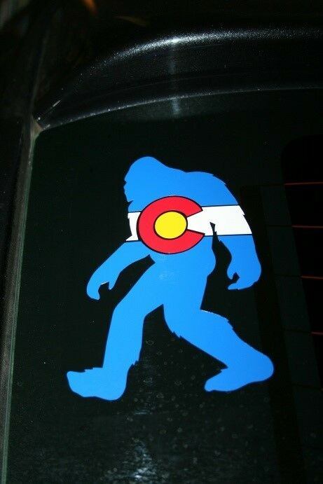 Colorado State Flag Bigfoot Sasquatch Yeti Die-Cut Sticker ...