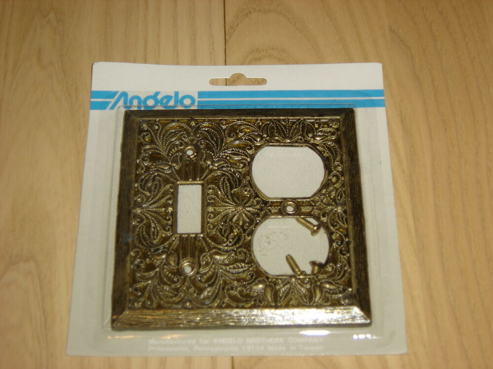 Antique Brass Decorative Switch Plate Cover Outlet Combo