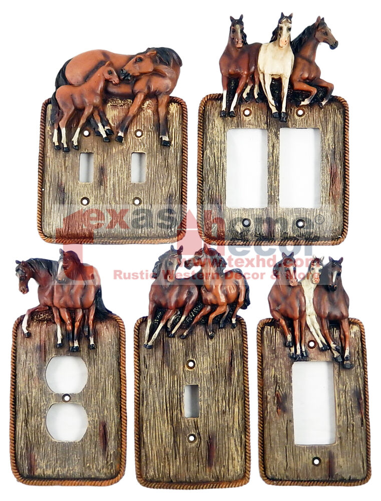 Western Running Horses Light Switch Plate Covers Faux Wood