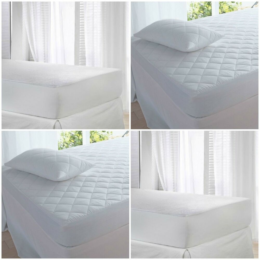 mattress protector quilted or waterproof double single. Black Bedroom Furniture Sets. Home Design Ideas