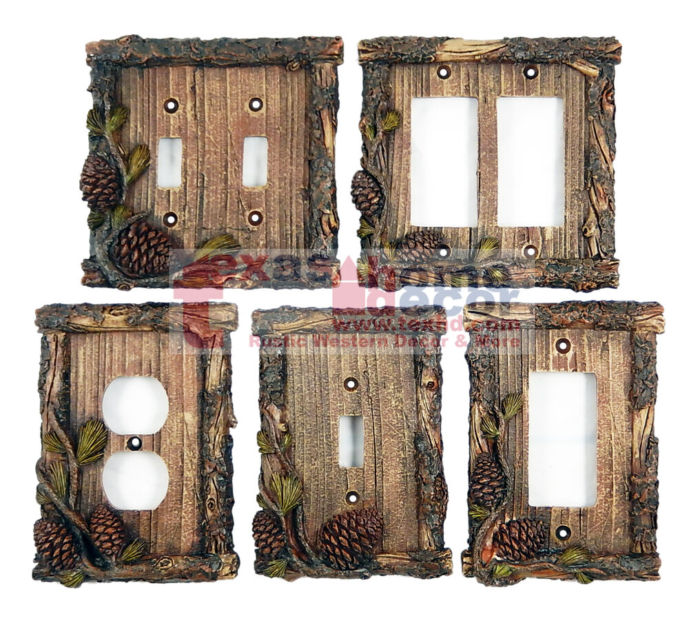 Pine Cone Switch Plate Covers Pine Faux Wood Cabin Lodge