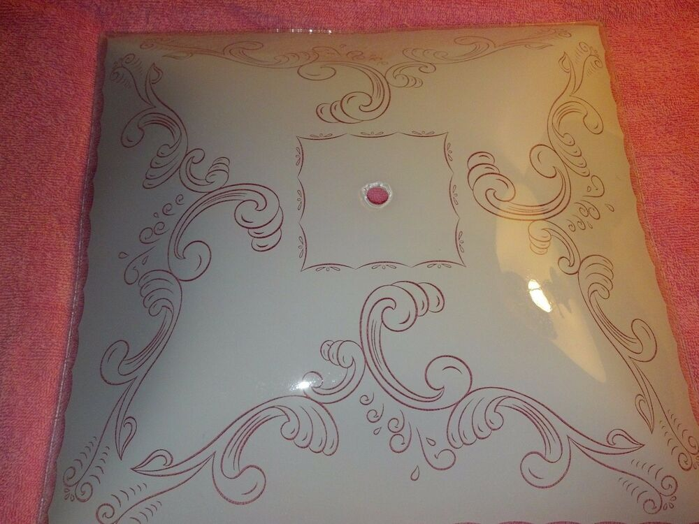 Vintage 1950s Atomic Age Square Scroll Design Frosted