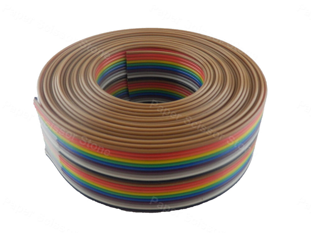 Flat Ribbon Wire : Ft way flat color rainbow multicolor ribbon cable