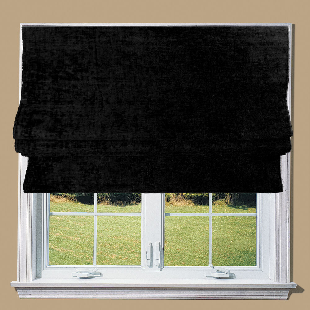 Black Chenille Blackout Lined Roman Blinds Fittings Ebay