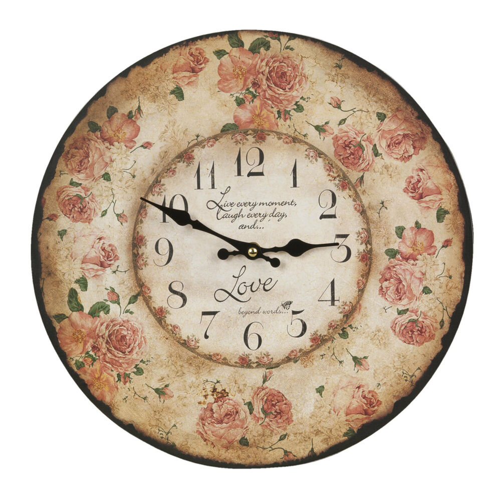 clayre cottage wanduhr nostalgie uhr landhausstil shabby roses shabby chic neu ebay. Black Bedroom Furniture Sets. Home Design Ideas