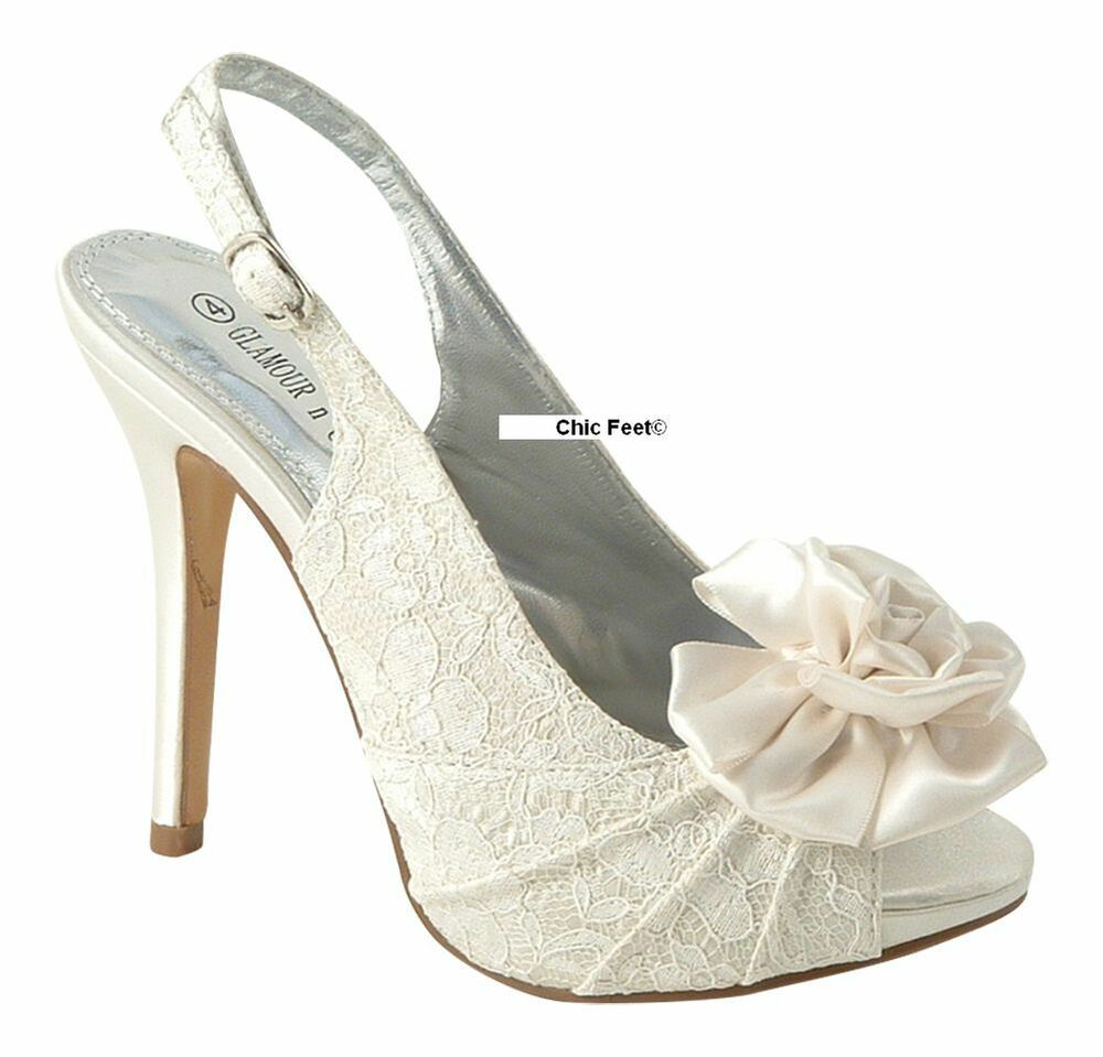 WOMENS LADIES IVORY LACE EVENING WEDDING BRIDAL PROM HIGH HEEL SANDALS SHOES 3 8