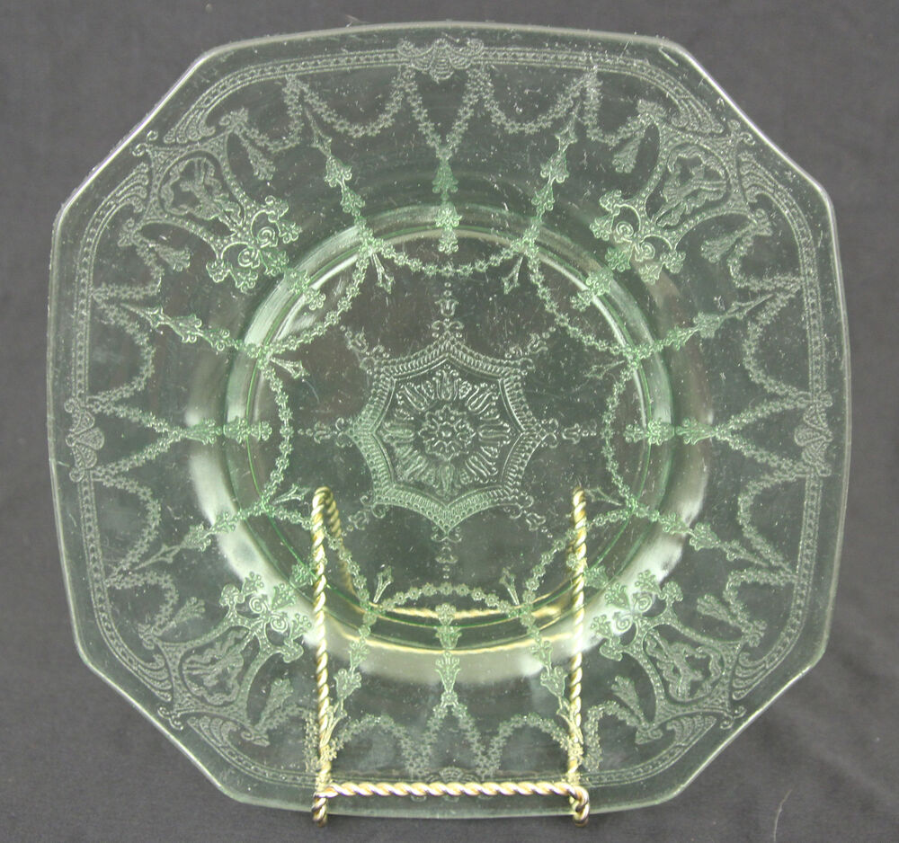 Rare hocking cameo ballerina square 8 1 2 plate green for Most valuable depression glass patterns