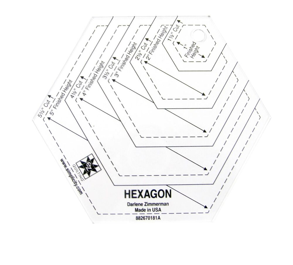 Hexagon shape acrylic quilting template ebay for Hexagon quilt template plastic