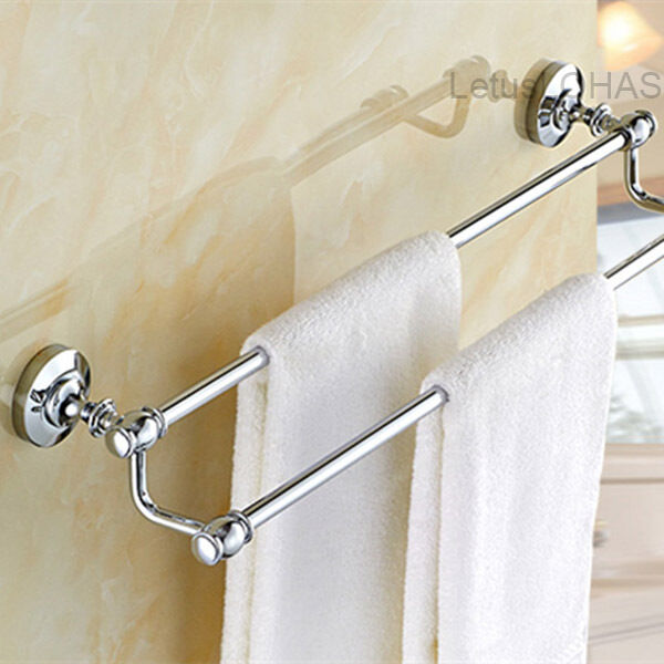 Where To Put Towel Bars In Bathroom: Chrome Polished Brass Bath Towel Holder Wall Mounted