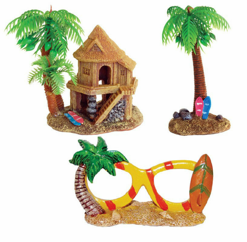 Aquarium ornament holiday beach house palm tree sun for Aquarium decoration ornaments