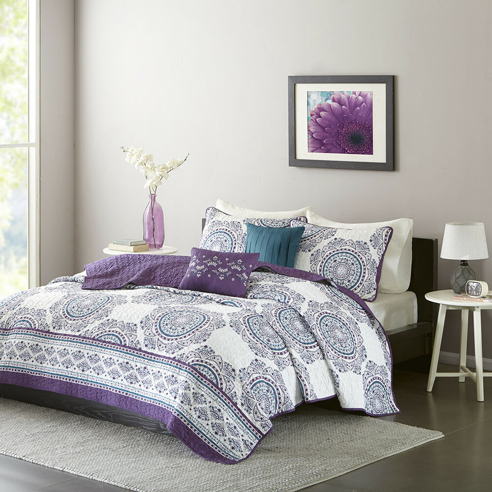beautiful modern chic purple grey global ruffle texture bohemian soft quilt set ebay. Black Bedroom Furniture Sets. Home Design Ideas