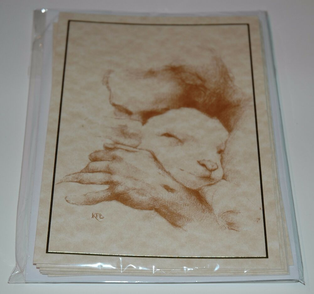 Details about katherine brown jesus and the lamb 7x5 pencil sketch greeting cards pack of 6