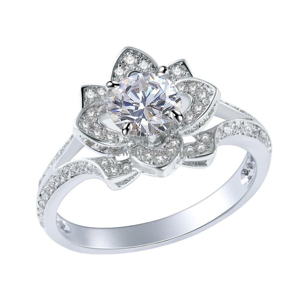 silver wedding ring flower cz 925 sterling silver white gold plated engagement 7460