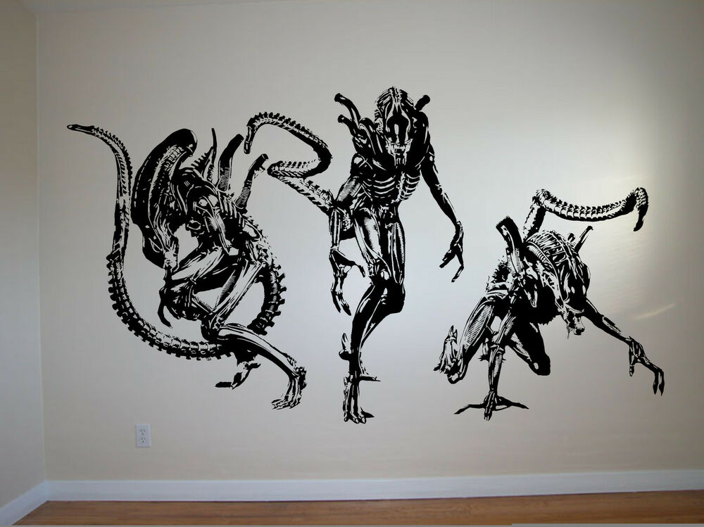 Alien wall art sticker aliens horror film decal ridley for Prometheus xenomorph mural