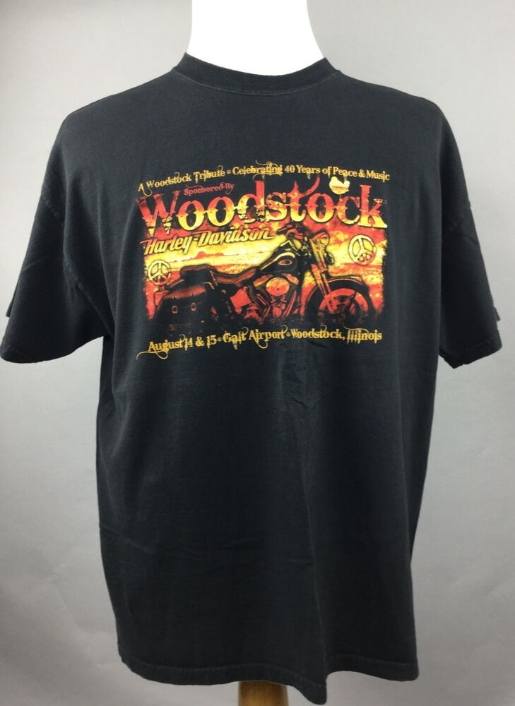 mens harley davidson t shirt sz xl woodstock tribute. Black Bedroom Furniture Sets. Home Design Ideas