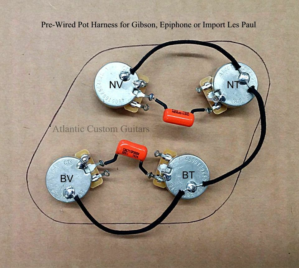 upgraded 50s style wiring harness fits les paul cts 500k long shaft pots ebay. Black Bedroom Furniture Sets. Home Design Ideas