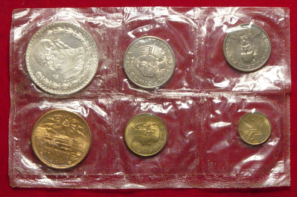 1964 Mexican Silver Pesos Uncirculated 6 Coin Sealed In Plastic Mint Set L K Ebay