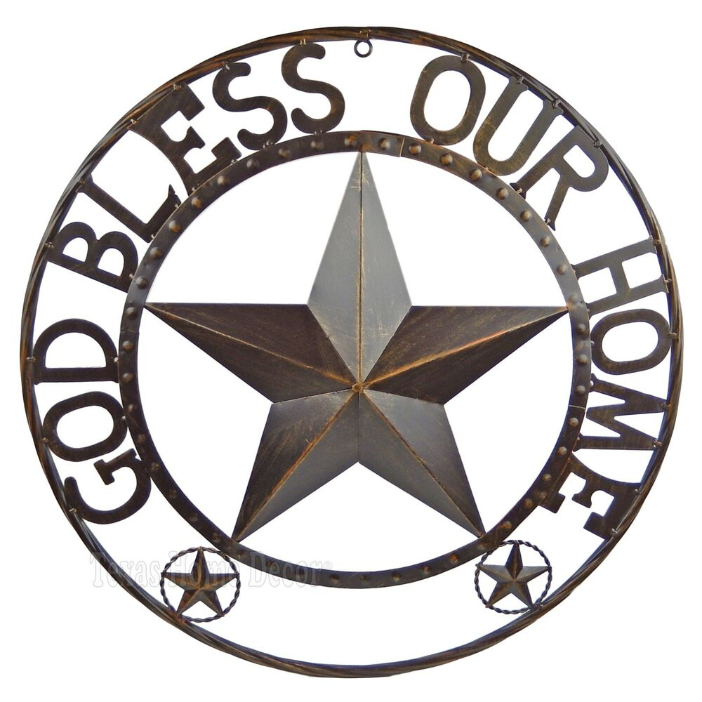 God bless our home metal barn star rustic brown texas rope for Deco metal mural